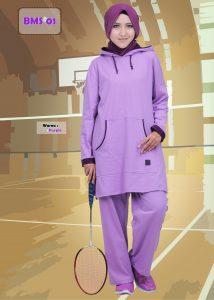Baju Olahraga Muslimah BMS-01-Purple