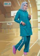 Baju Olahraga Muslimah BMS-01-Cyan