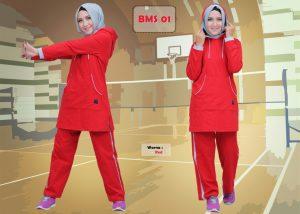 Baju Olahraga Muslimah BMS 01 Merah